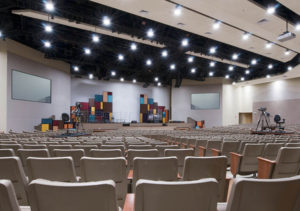 Modern Church Auditorium Set Up For Live Streaming Video