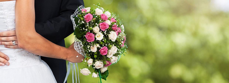 Bride, Groom and Flowers