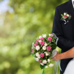 Bride Groom and Wedding Bouquet